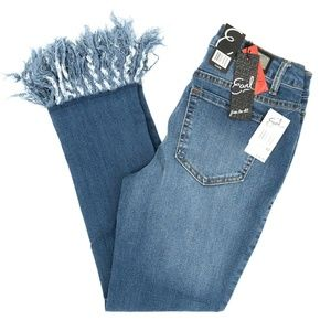Earl Jeans Skinny Crop Long Frayed Hem Sz 2 26X23